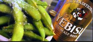 Yebisu japanese beer with edamame